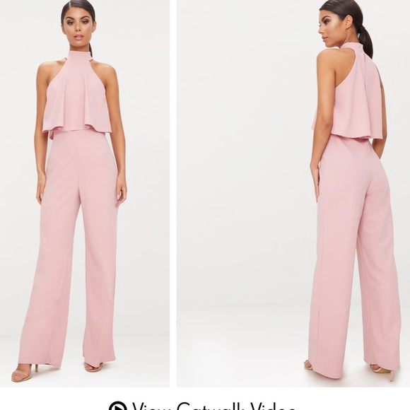 265b03f77922 Dusty Pink High Neck Double Layer Jumpsuit